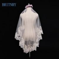BRITNRY Vintage Short Wedding Veil Champagne Lace Edge Bride Veil Cheap Veils