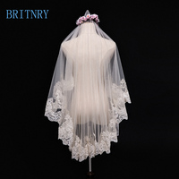 BRITNRY Vintage Short Wedding Veil Champagne Lace Edge Bride Veil Cheap Veils