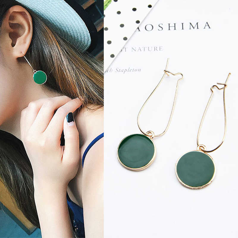 Hot Simple Green Circle Small Fresh Girl Earrings Female Character Good Quality Pendant Earrings Jewelry wholesale Gift 2019