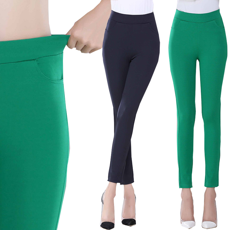 2016 Summer suit pants & capris women cotton high elastic waist solid strentch candy color pencil pants female Plus size S-XXXL
