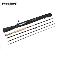 Proberos 2.7M Carbon Fly Fishing Rod With Soft Cork Handle Fish Tackle Portable 4 Section Fly Fishing Rod For Travelers