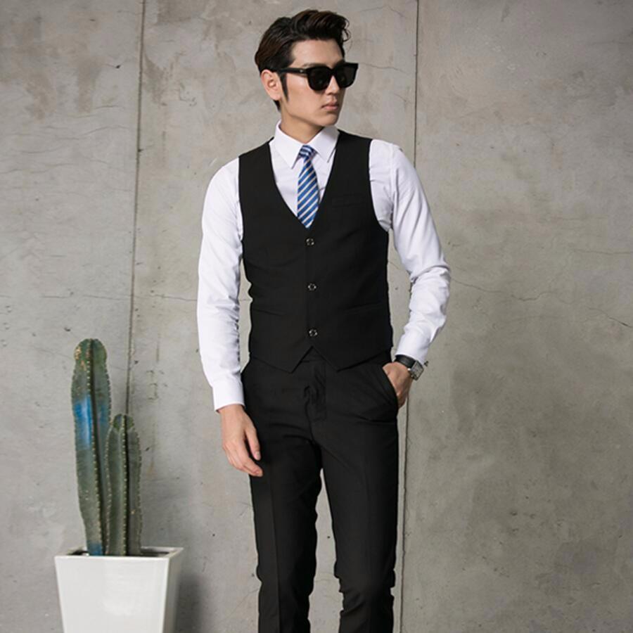 26.1 Men\'s vest business groom fashion hot sale v-neck pure color single-breasted men vest slim fit high quality custom
