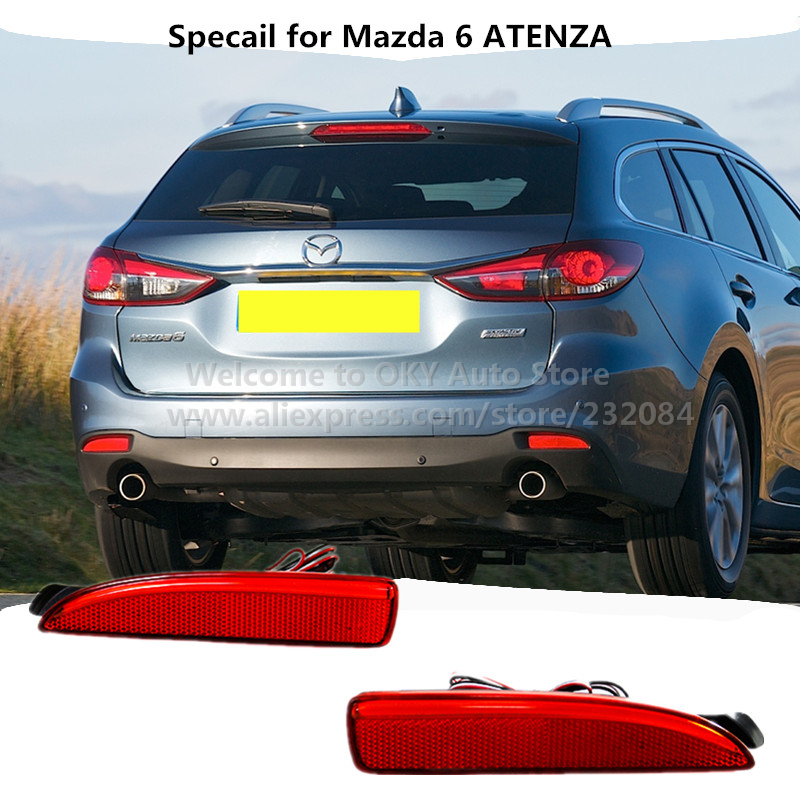 ФОТО Car LED Red Lens Auto Rear Bumper Reflector Light for New 3/5/6 Atenza Tail Fog Lights Night Driving Run Brake Stop Lamp Lantern