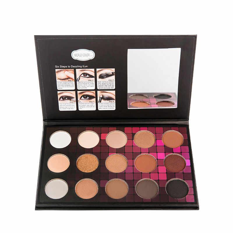 Baru 15 Warna Kosmetik Matte Eyeshadow Palet Matte Glitter Berpigmen Eye Shadow Makeup Palet Shimmer Mengatur Femme