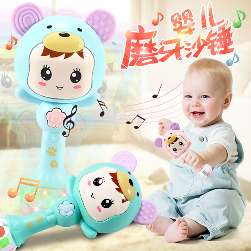 Baby rattle toy 0-1 year old hand rattle music stick sand hammer rhythm 0-3-6-12 early childhood baby puzzle