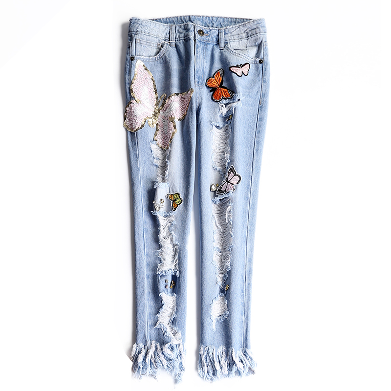 Women Handmade Sequins Jeans With Diamonds Crystal Beads Luxurious Tassels Ripped Holes Embroidery Appliques Denim Pants NZ04 thumbnail