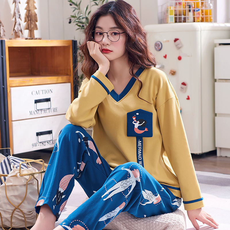 Women Clothes for Autumn winter Pajamas Sets O-Neck Sleepwear Lovely Rabbit Pijamas Mujer Long Sleeve Cotton Sexy Pyjamas Female 88