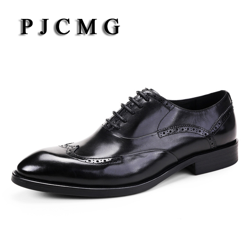 PJCMG Breathable Black/Brown Dress Genuine Leather Lace-Up Carved Style Pointed Toe Business Luxury Wedding Men Office Shoes tba hot sale luxury brand men s office career business breathable casual winter and autumn male lace up pointed toe flats shoes