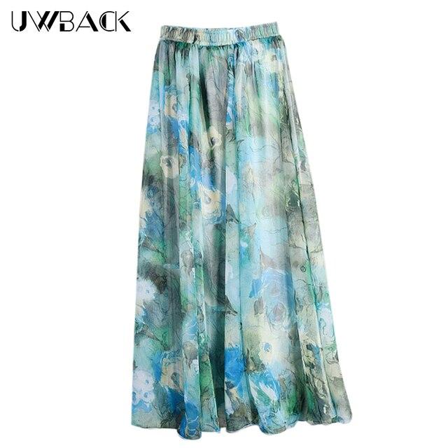 Bardzo dobra Uwback kobiety szyfonowa spódnica w kwiaty Boho plaża spódnice JE04