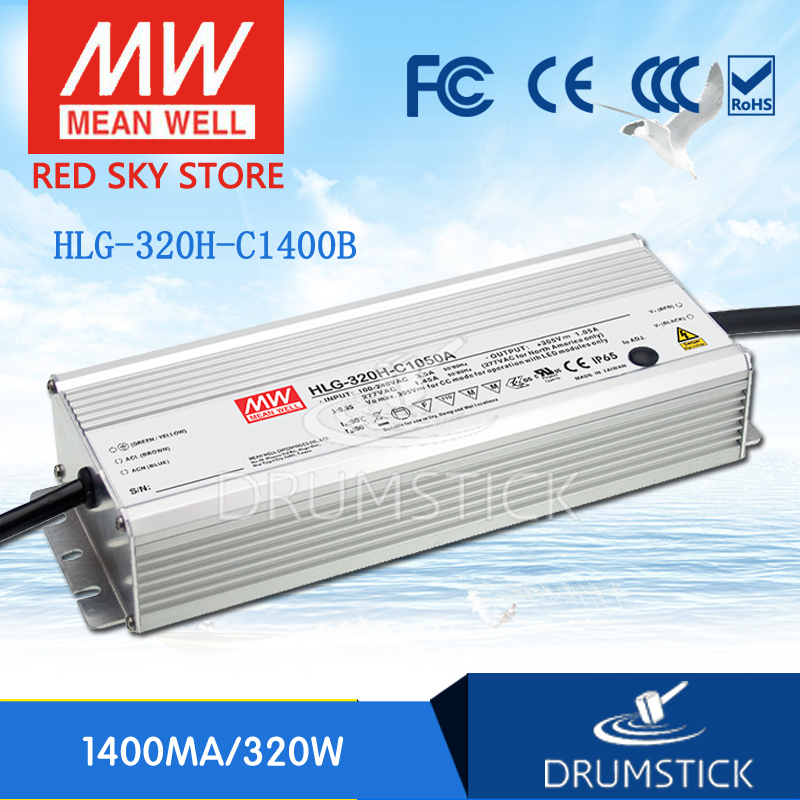 Hot sale MEAN WELL original HLG-320H-C1400B 114 ~ 229V 1400mA meanwell HLG-320H-C 320.6W LED Driver Power Supply B Type genuine mean well hlg 320h 36b 36v 8 9a hlg 320h 36v 320 4w single output led driver power supply b type