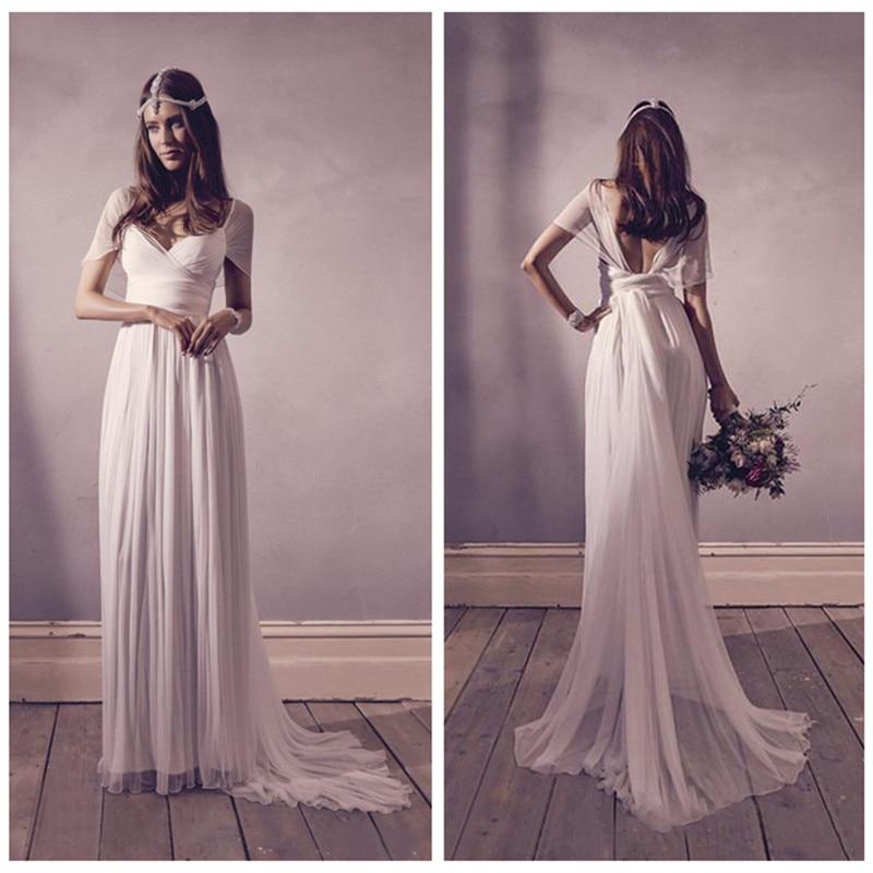 2017 Bohemian Beach Wedding Dresses Short Sleeves Sashes Pleats Sexy V Neck Open Back Simple Style Boho Bridal Wedding Gowns