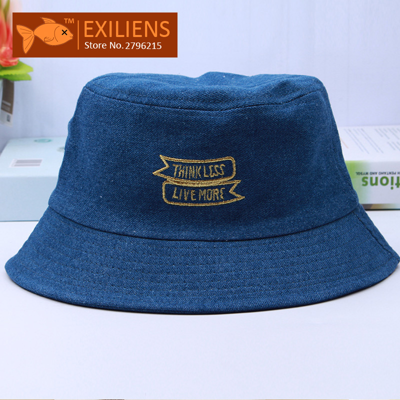 [EXILIENS] 2017 Fashion Brand Bucket Hats Cowboy Cotton Top Casual Fisherman Caps Hip-hop Hats For Men Women Lovely Blue Hat [exiliens] 2017 fashion brand bucket hats cotton honey casual fisherman caps hip hop hats for men women lovely black red hat