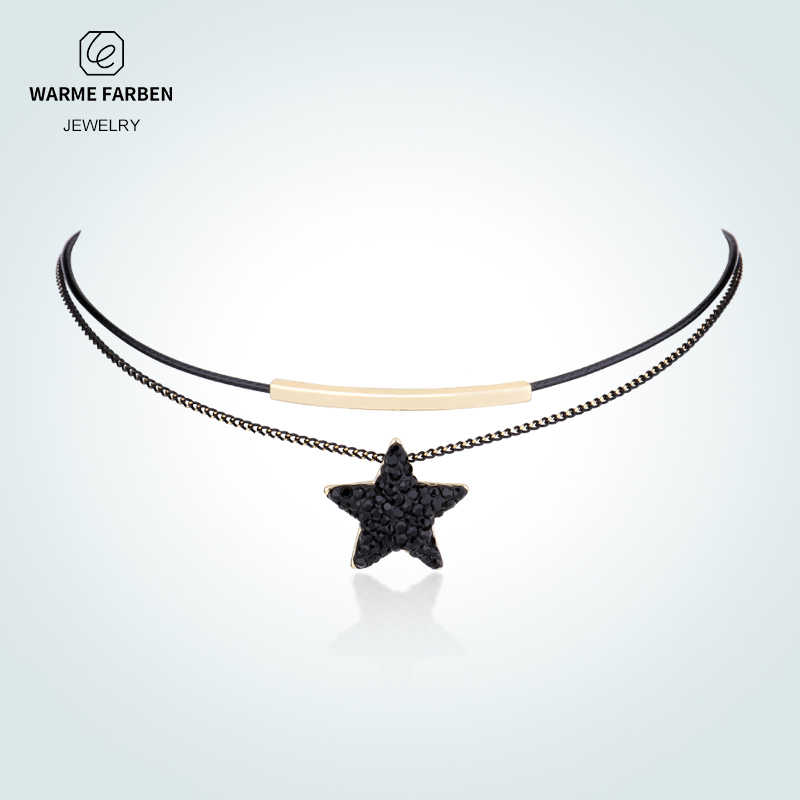 Warme Farben Fashion Women Choker Necklace Baroque Clavicle Black Double  Rope link Chain Collares Star Crystal 7d51b23a3559