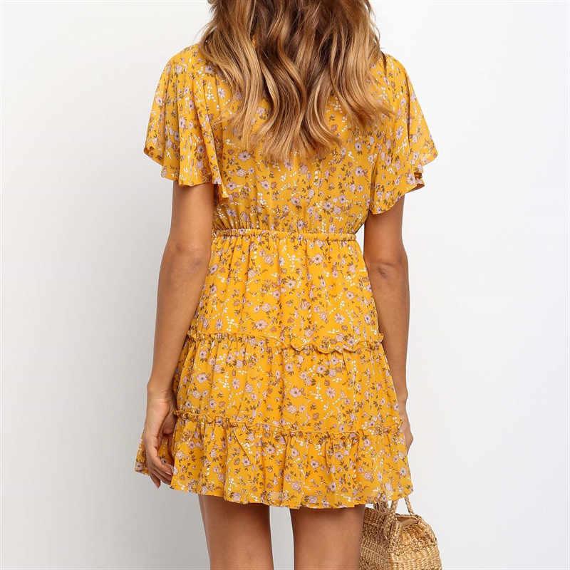 Летние платья 2019 повседневное женское платье с коротким рукавом сексуальное платье с v-образным вырезом туника с принтом женские вечерние платья а-силуэта мини
