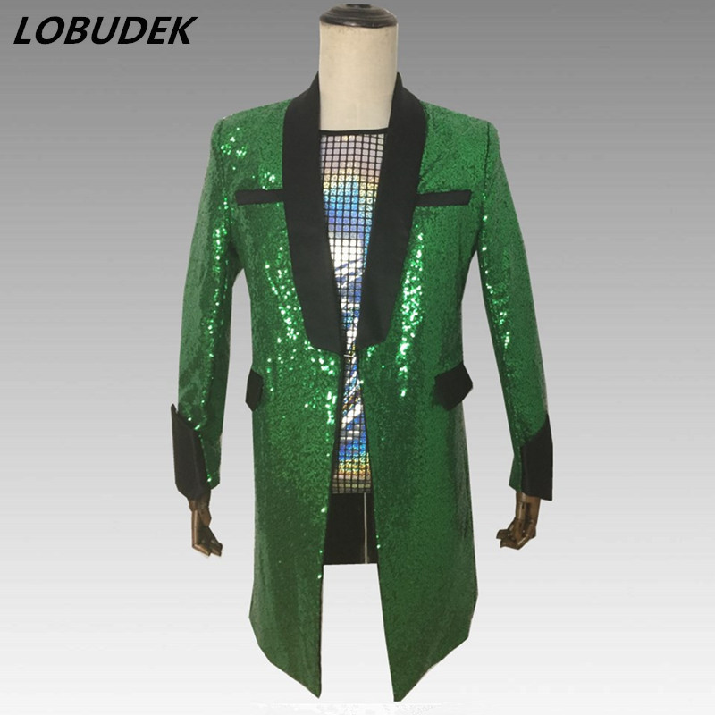 Men Casual Coats Sparkly Green Sequins Long Blazers Slim Outerwear Male Singer Nightclub Concert Stage Outfits Host Show Costume