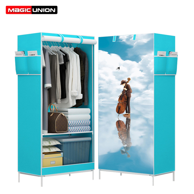 Magic Union Cartoon Cloth Wardrobes Storage Cabinet Non Woven Panorama  Folding Cloth Closet 3D Wardrobe