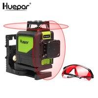 Huepar красный крест линия лазерный уровень наливные 8 линий 360 Вертикальные Горизонтальные лазеров с импульсный режим для Открытый и лазерные
