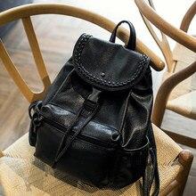 2016 Hot New Casual Women Backpack Female PU Leather Bags Women's Backpacks Black Bagpack Bags Girls Preppy style Bag back pack