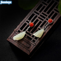 2019 Summer 925 Sterling Silver Vintage Natural Inlay South Red Orchid Lady Earrings Earrings