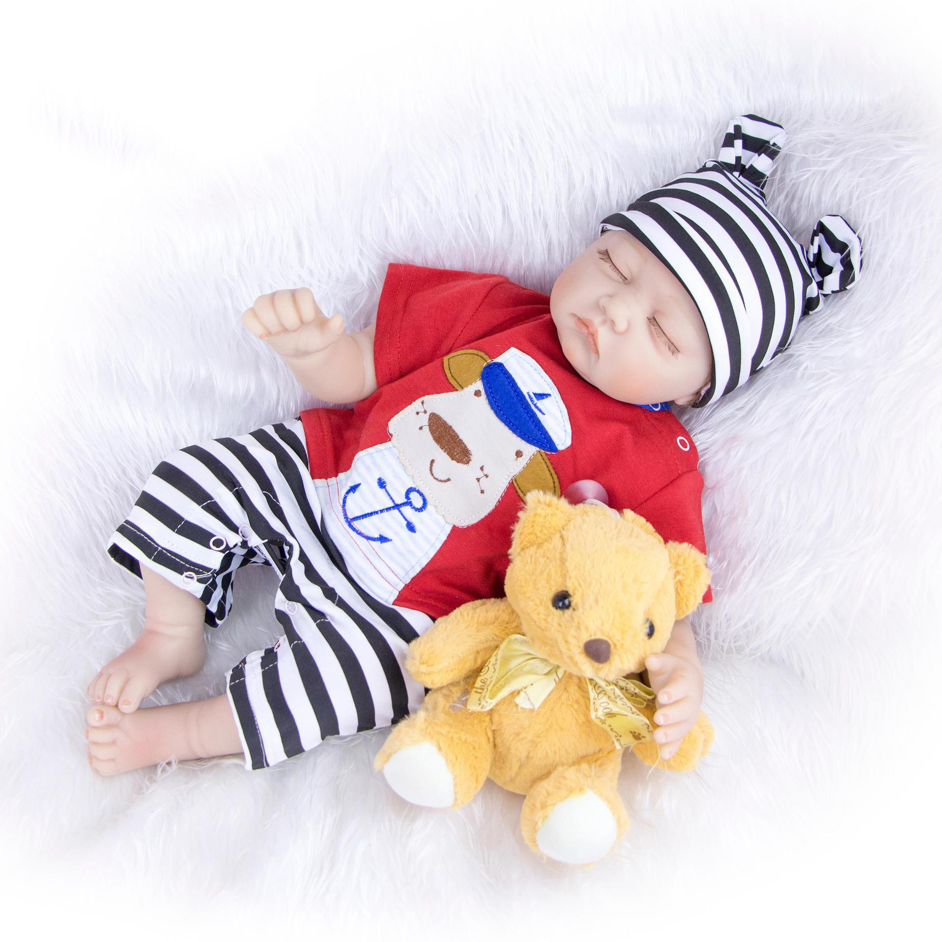 22 Inch 55 cm doll reborn Collection Handmade Realistic Silicone sleeping newborn baby real Alive child
