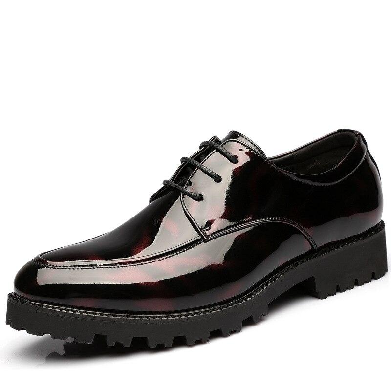 marron Les D'affaires Chaussures Augmenter De Cuir Brillant Pointu En Dans Mariage Noir Robe Loisirs Hommes Zq6Pw