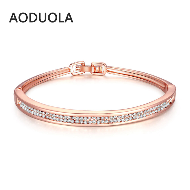 Rose Gold Color Bangle With 2 Rolls Crystal Rhinestone Bracelet Cuff Love Bracelets Bangles For