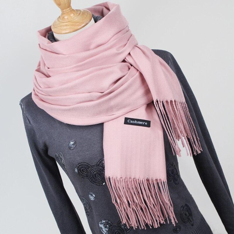 Las mujeres de color sólido bufandas de Cachemira con borla de invierno gruesa cálida bufanda de mujer de alta calidad chal Venta caliente YR001