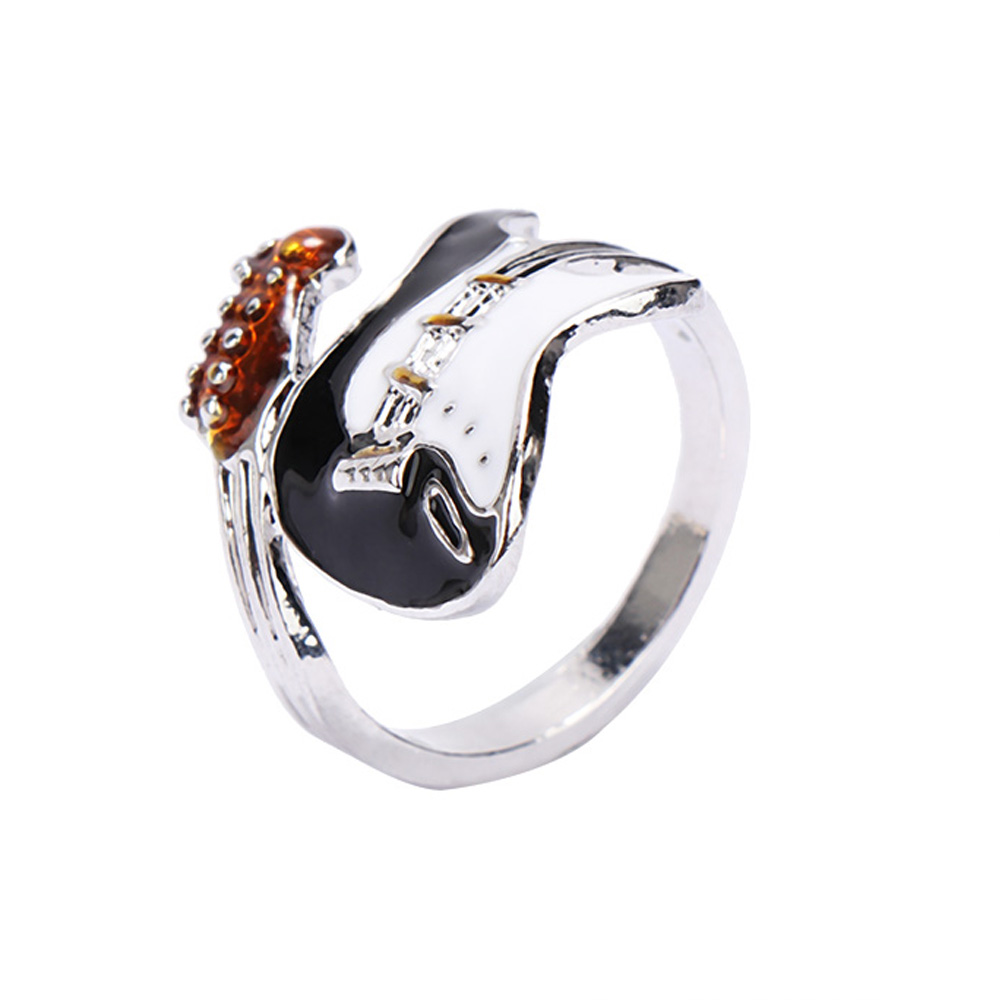Punk Style Personality Exaggeration European Lovers' Black White Color Oiled Guitar Ring Jewelry