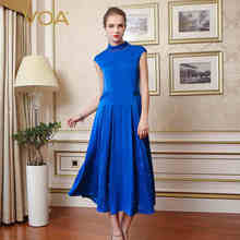 VOA Elegant Silk Women Vintage Maxi Dresses Short Sleeves O-Neck Ankle-Length Robe Longue Vestidos Mujer A3505