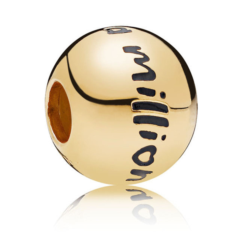 2019 New 925 Sterling Silver Bead Shine Gold One Million Charm Fit Original Pandora Bracelet Bangle for Women DIY Jewelry Gift in Beads from Jewelry Accessories