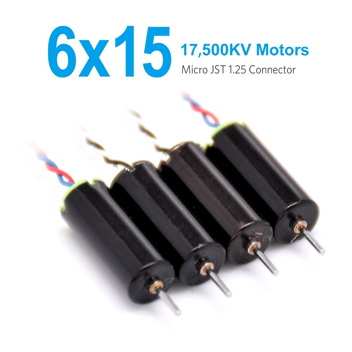 BETAFPV 4pcs of 6x15mm Motor (Speed: Faster) 17500KV TW Sauce Edition Black with Micro JST 1.25 Plug