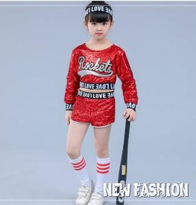Image 2 - 赤子供子供スパンコールヒップホップダンス衣装キラキラステージジャズダンス衣装スーツ女の子クロップトップとパンツ