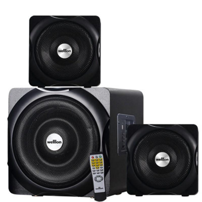 Ordinateur Audio Super basse télécommande haut-parleur bureau à domicile haute puissance Subwoofer bois 2.1 Bluetooth haut-parleur