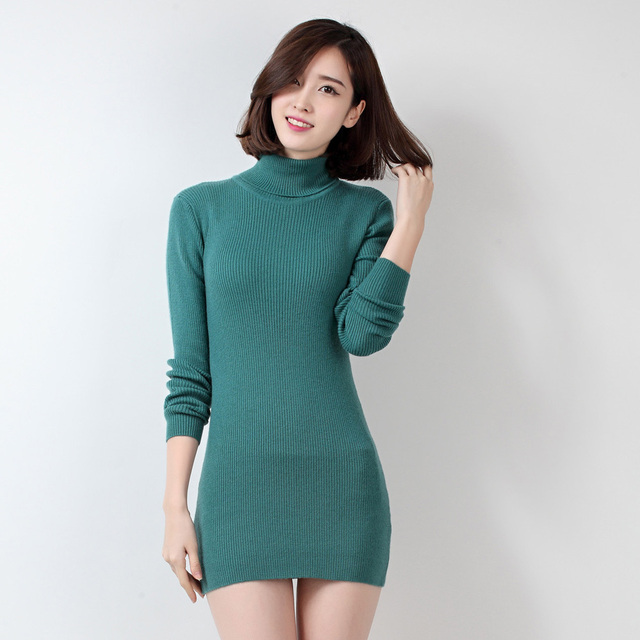 Soft Comfortable Hot Sale 2016 New Fashion Winter Wool Cashmere Women Dress Knitted Pullovers Tops Turtleneck Slim Warm Sweaters