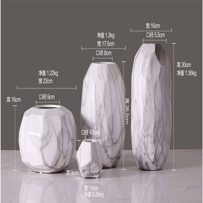 Europe Creative Marble Resin Vase Home Furnishing Tabletop Fashion Modern White Decoration In Vases From Garden