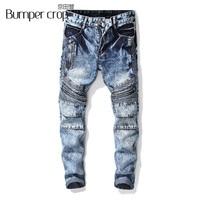 BUMPERCROP Cool Jeans Skinny for Men Slim Biker Denim Zipper Cool Blue Snow Wash Mid Waist Hiphop Jeans Streetwear Stretch Pants