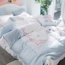 Egyptian cotton embroidery cute girls princess Bedding Set queen king size decorative pillows Bed Sheet/linen Duvet Cover set