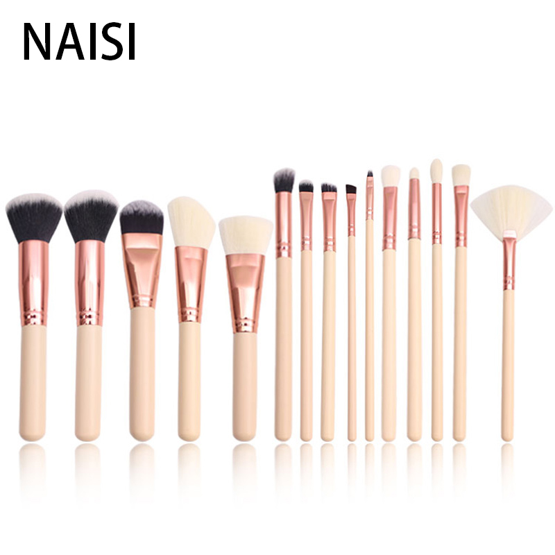 NAISI 15pcs Rose Gold Professional Makeup Brushes Set Make Up Brush Tools Kit Eyeshadow Foundation Powder Natural-synthetic Hair()