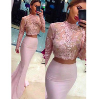 Hot Sale Sexy High Neck 2 Piece Prom Dresses Mermaid Prom Dress Chiffon Dusty Pink Evening Gowns Long Homecoming Dresses 2019