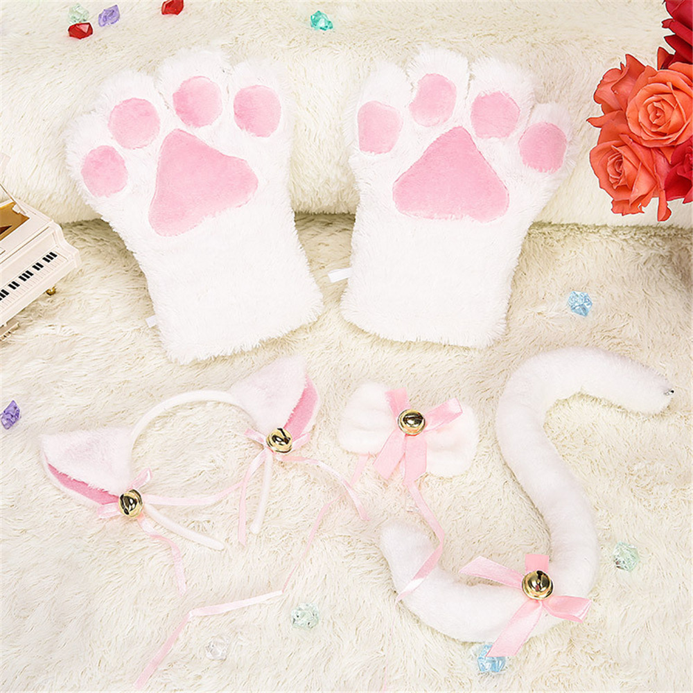 Kitten Cat Maid Cosplay Roleplay Anime Costume Gloves Ear Tail Tie Party Whole Set