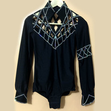 New style men's Latin dance costumes seior spandex long sleeves men's latin dance body shirt for men's latin dance shirts A71