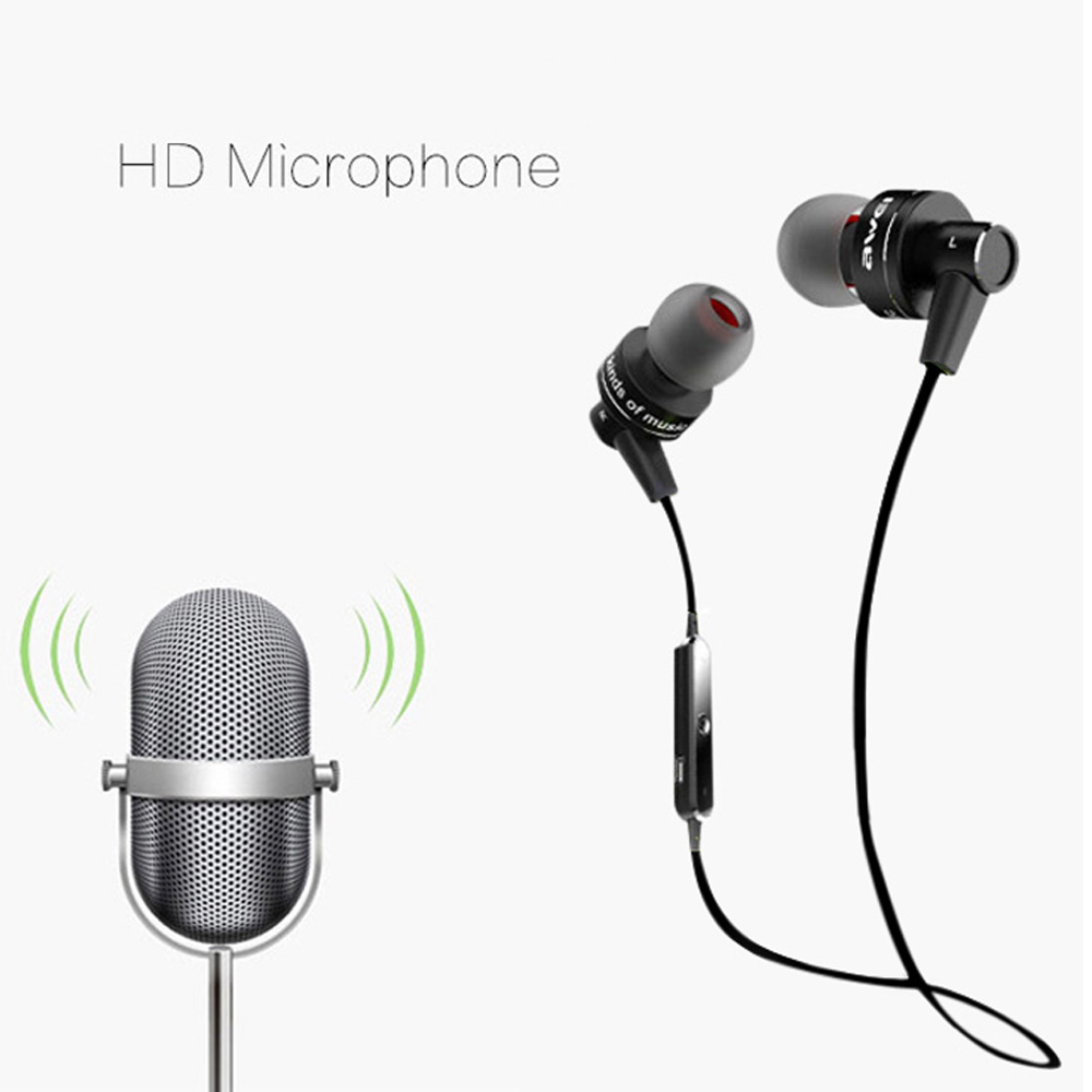 Awei Fashion Earphones with Microphone Stereo Music Earphone Sports fone de ouvido for Xiaomi iPhone Meizu Huawei Samsung HTC new arrival sports fone de ouvido earphone awei a890bl wireless bluetooth earphones audifonos with microphone for xiaomi iphone