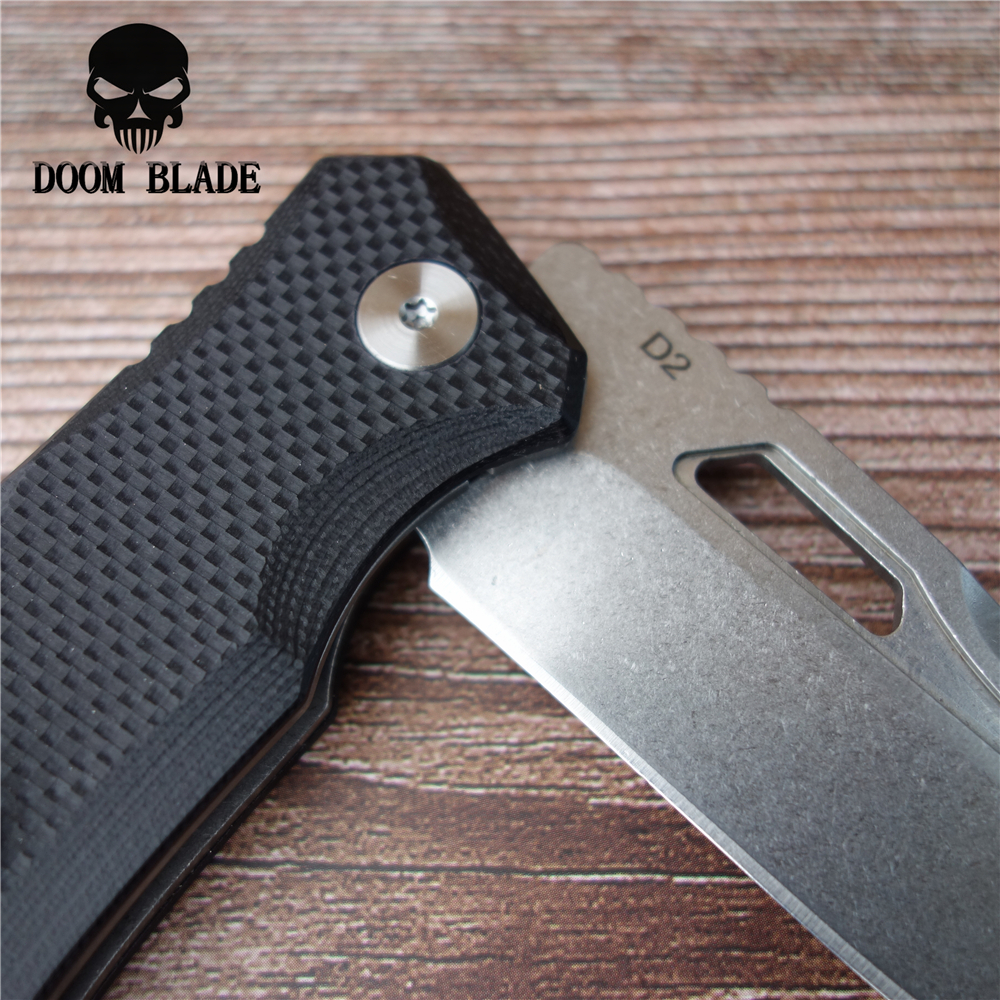 203mm 100 D2 Blade Ball Bearing Knives Folding White Blade Knife Camping Knife G10 Handle EDC Tool in Knives from Tools