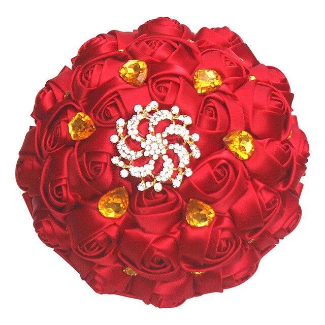Wine Red Satin Rose Flower Bridal Wedding Bouquet Golden Diamond ...