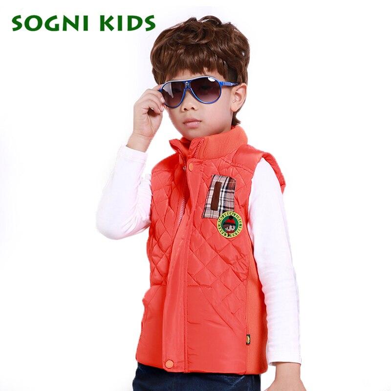 ФОТО SOGNI KIDS Cartoon boy vest boys Solid Lattice waistcoat baby boy Turtleneck Zipper vest autumn winter 2016 Fashion Coats