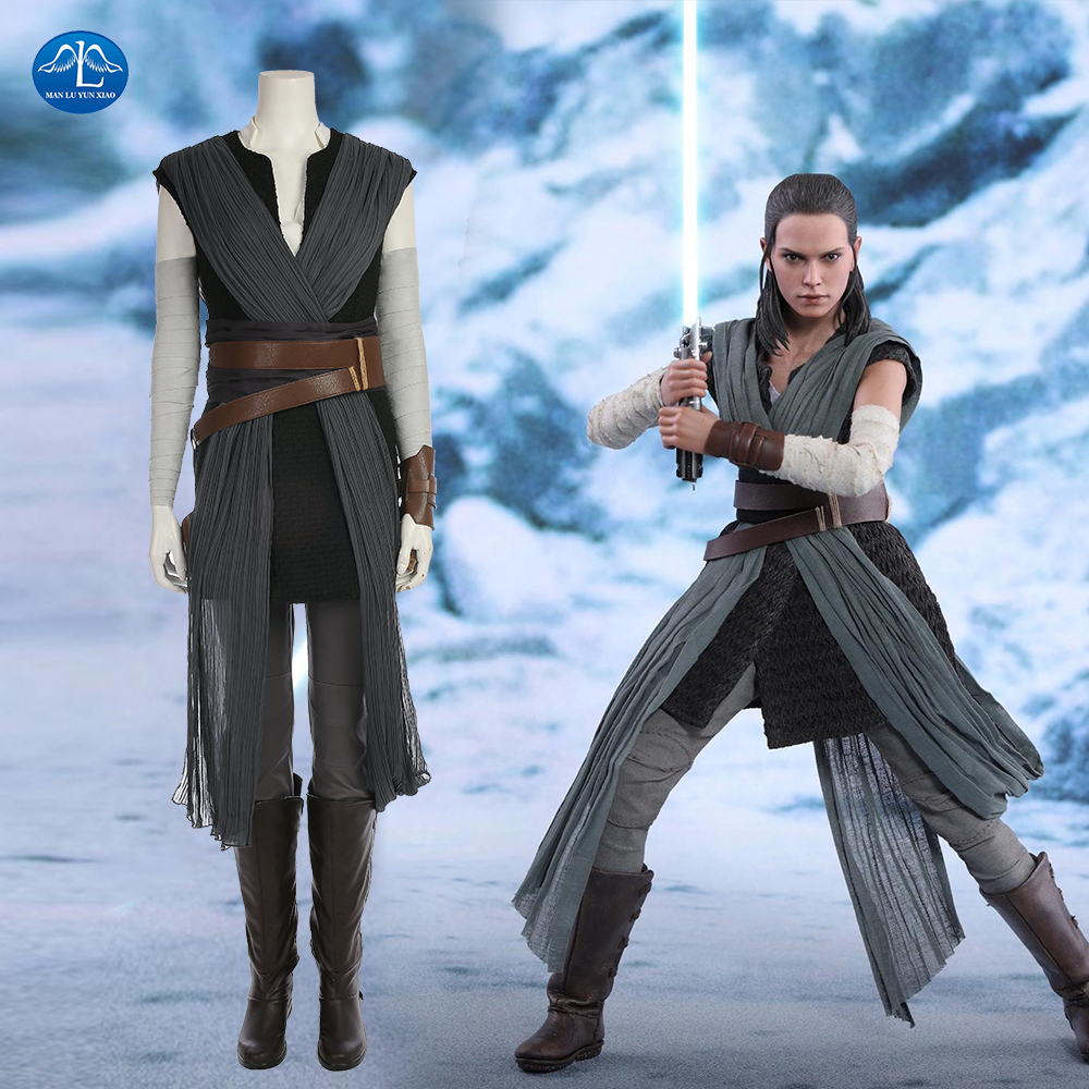 Movie Star Wars The Last Jedi Grey Rey Costume Women Adult Halloween Costumes For Women Rey Cosplay Costume Full Set With Boots