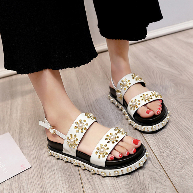 7ac5c7174aa 2018 open toe pearl sandals women rivets studded narrow band muffins shoes  ladies buckle belt platform
