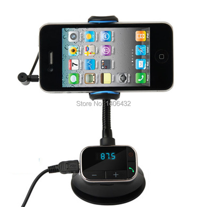 הרכב מחזיק טלפון AUX U דיסק SD נגן מיקרופון דיבורית ל-Iphone 4S 5 5 6 6 Samsung Huawei ZTE, Lenovo מטען לעמוד
