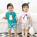 Ropa de Los Niños coreanos Algodón de Manga Corta de Verano Conjunto Muebles Para El Hogar bebé Niño Niña de Dibujos Animados Pijamas de la camiseta + Pantalones Cortos de Dos traje