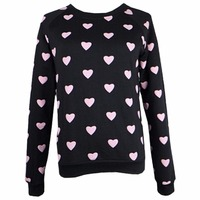 2017 Autumn Winter Women Casual Broadcloth Full Sleeves Polka Dot Pullovers Hoodies O Neck No Hat